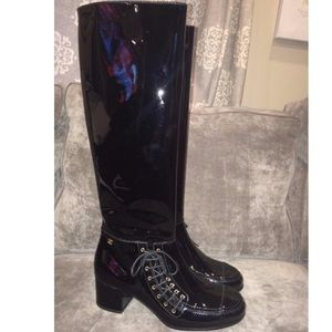 CHANEL LACE UP CC KNEE BOOT